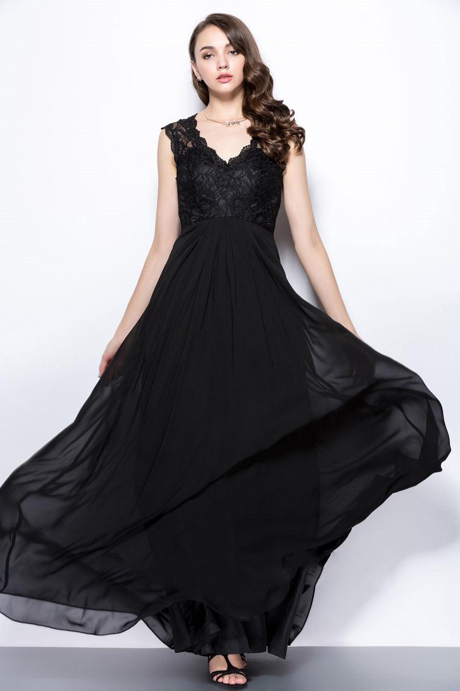 149501ef80a Robe longue de soirée noire à dos ajouré haut en dentelle - Persun.fr