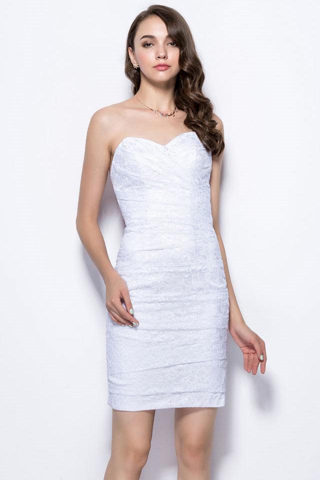 Robe habillée blanche empire moulante pour cocktail et soirée