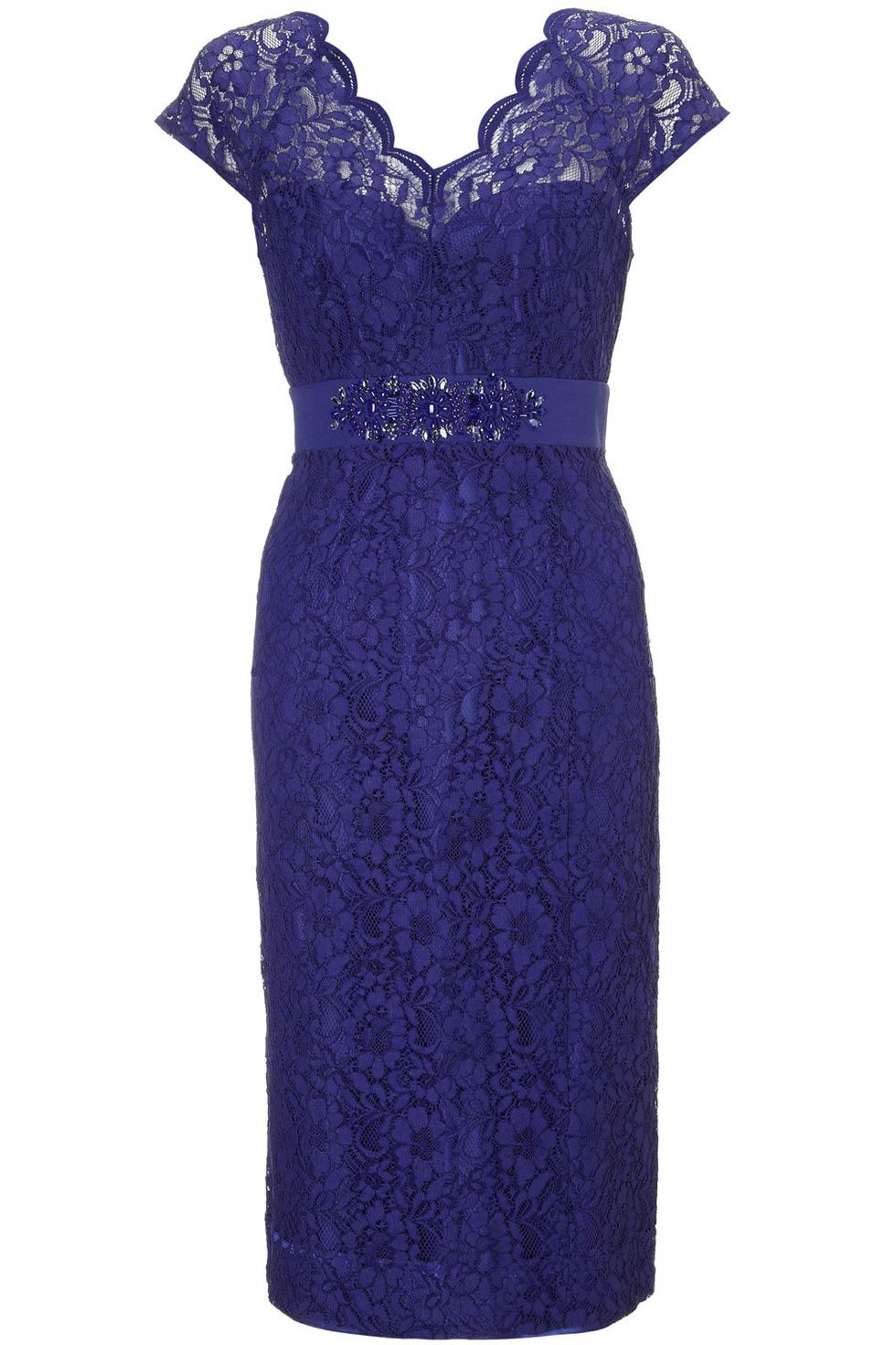 robe de soirée bleu élégante en dentelle avec ceinture orné de strass pour mariage