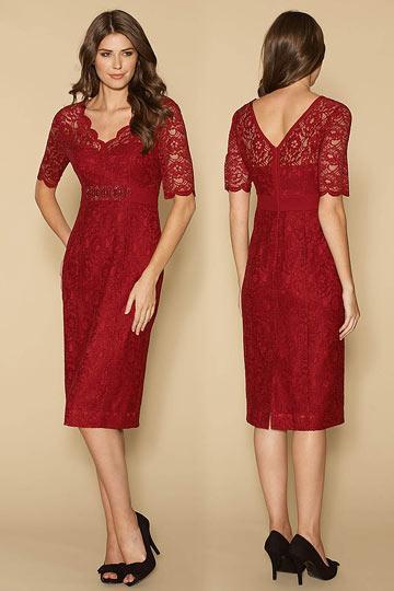 Robe de soirée courte manches courtes dentelle rouge foncé pour mère