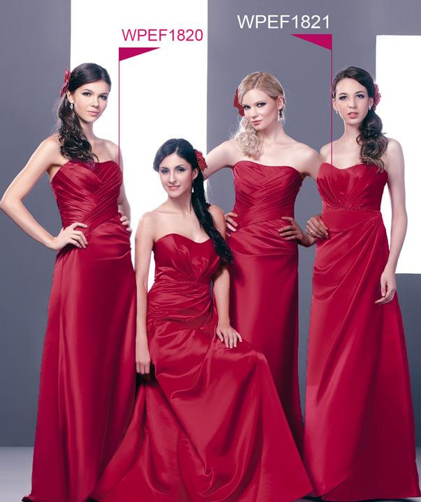 robe demoiselle d'honneur rouge longue bustier vague plissé