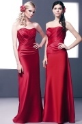 Sexy Strapless Ruching Lace Up Satin Red Long Formal Bridesmaid Dress