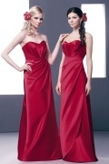 Simple Sweetheart Satin Sleeveless Floor Length Red Formal Bridesmaid Dress