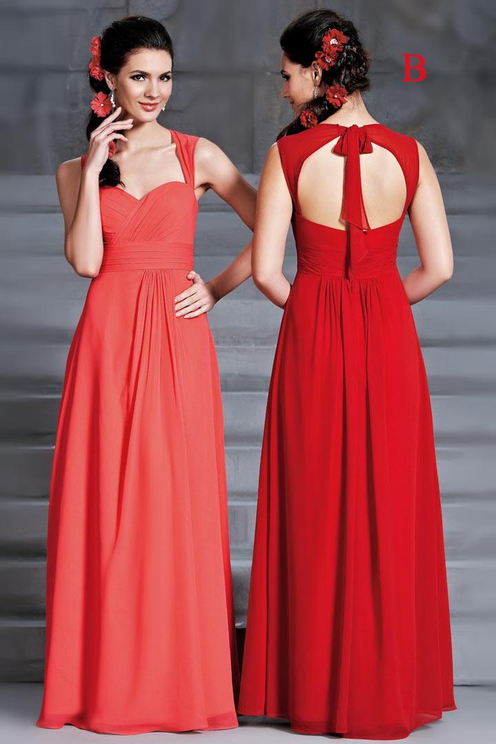 Robe longue rouge bustier en cœur avec bretelles dos découpe