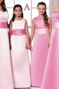 Simple Satin Sleeveless Sash Pink Long Junior Formal Bridesmaid Dress