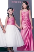 Chic Straps Sleeveless Satin Flower Pink Junior Formal Bridesmaid Dress