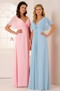 Elegant V Neck Short Sleeves Chiffon Flower Long Pink Formal Bridesmaid Dress