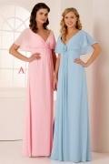 Elegant V Neck Short Sleeves Chiffon Flower Long Pink Formal Bridesmaid Dress