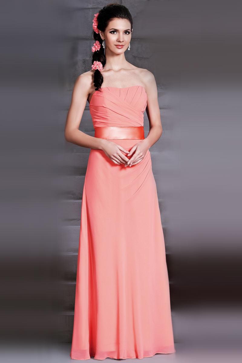 83af4af9de8e Robe corail longue pour mariage bustier vague drapé en mousseline ...
