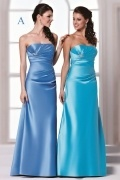 Sexy Strapless Satin A Line Floor Length Blue Formal Bridesmaid Dress