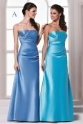 Sexy Strapless Satin A Line Floor Length Blue Formal Bridesmaid Dress