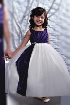 Robe cortège fille longue en tulle bicolore ornée de strass à taille