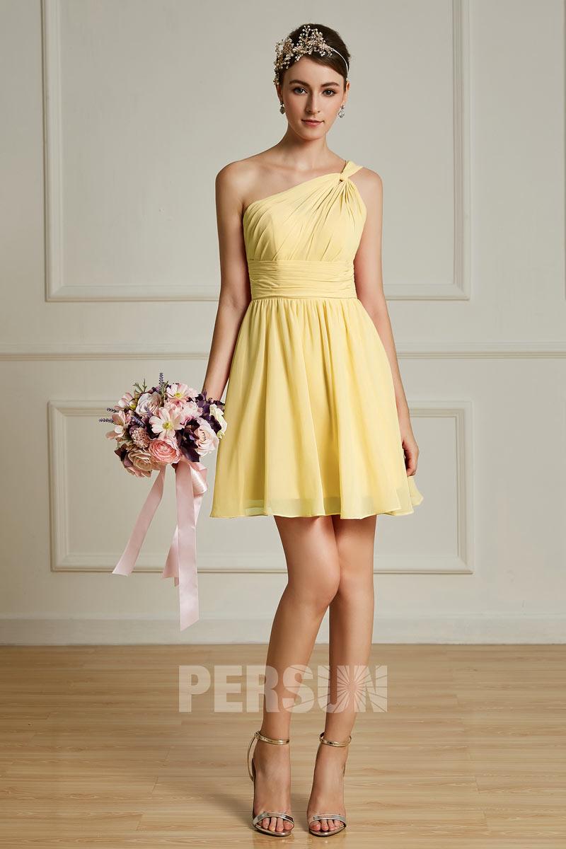mini robe col asymétrique jaune pour mariage