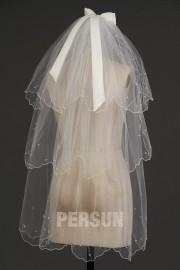 Fingerspitzenlang drittschichtig Oval Rüschen Hochzeit Schleier