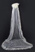 Kathedralenlang einschichtig klassisch Lace Wellenkante Hochzeit Schleier