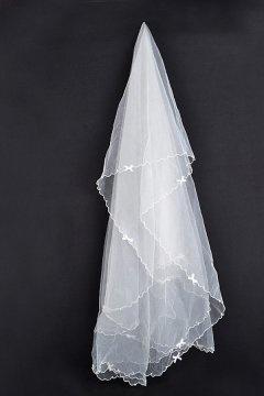 Voile de mariée ruban orné noeud de papillon 1 couche en tulle