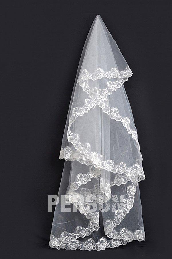 Voile de mariée bord orné des appliques 1 couche en tulle