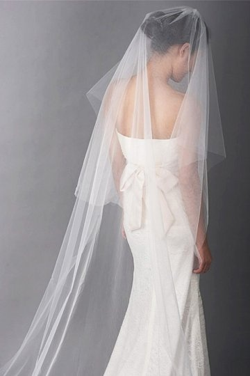 Voile de mariée chapel dentelle 1 couche en tulle