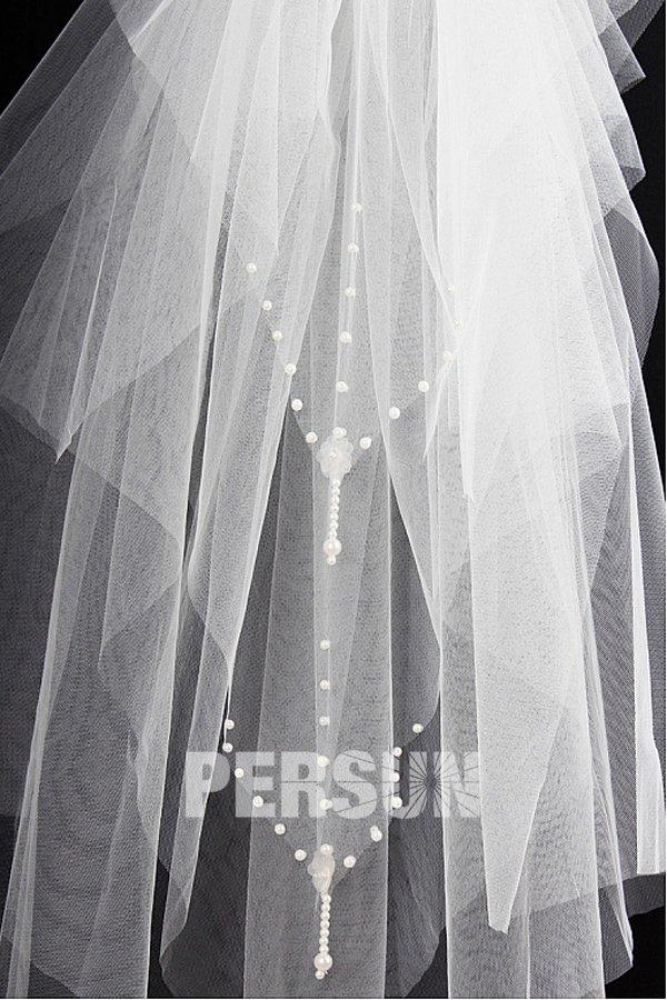 Voile de mariée 4 couches bord orné de perles en organza
