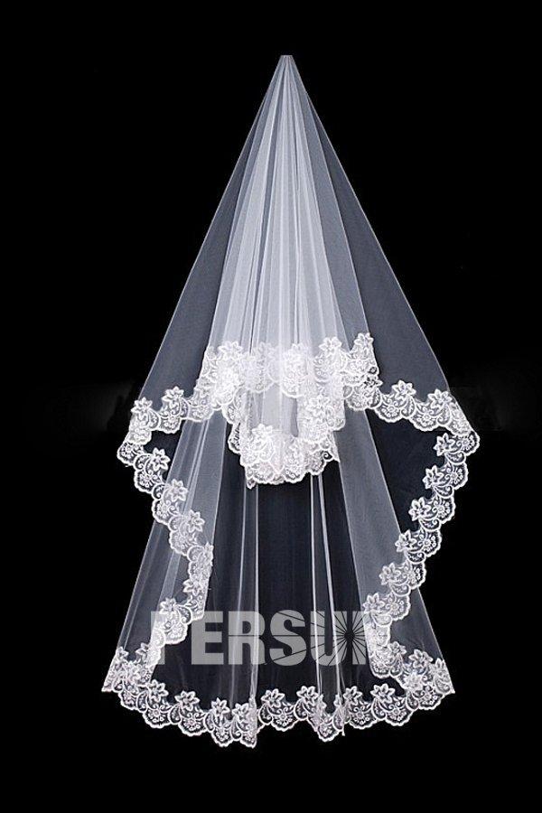 Voile de mariée classique 1 couche bord en broderie en tulle