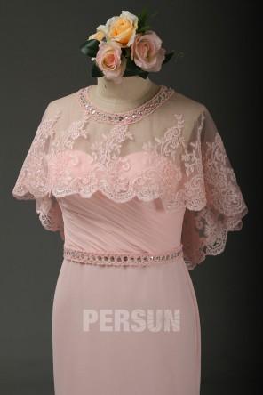 Cape dentelle rose poudré encolure perlé pour invité mariage