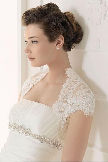 Petit boléro de mariée manches courtes appliques festonné en dentelle (plusieurs couleurs)