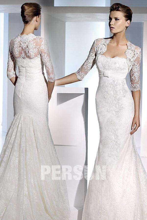 3122dbcd5d0 Boléro pour robe de mariage classique manches mi-longues appliques en  dentelle (plusieurs couleurs