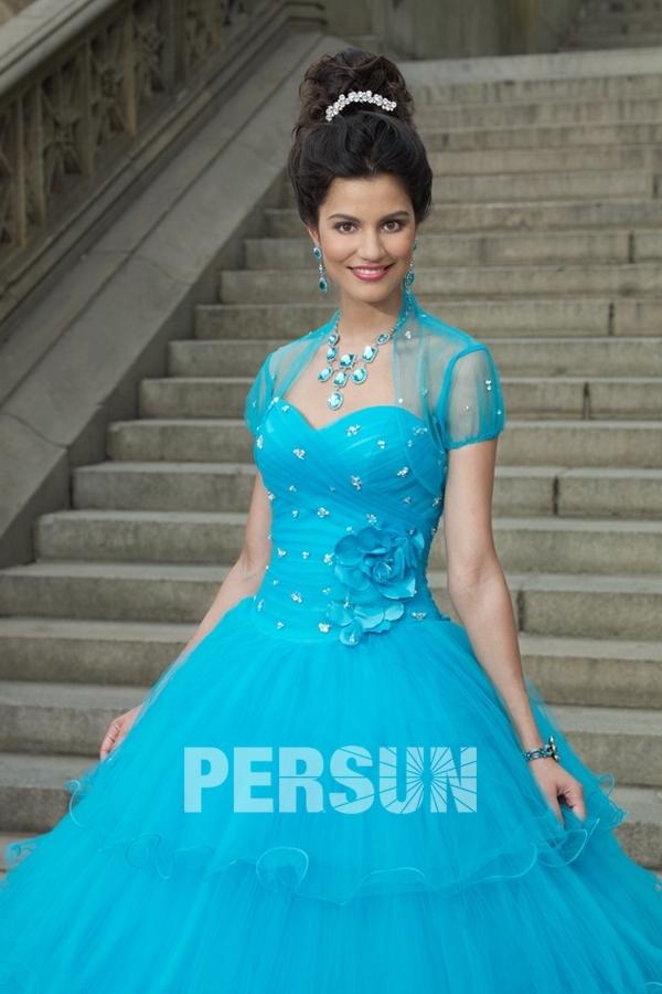 Boléro pour robe de bal mariage manches courtes en tulle orné de perle (plusieurs couleurs)