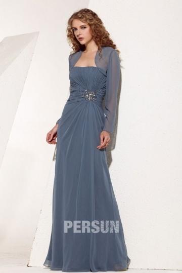 Boléro de robe mariage / bal orné de paillettes manches longues en Mousseline (plusieurs couleurs)