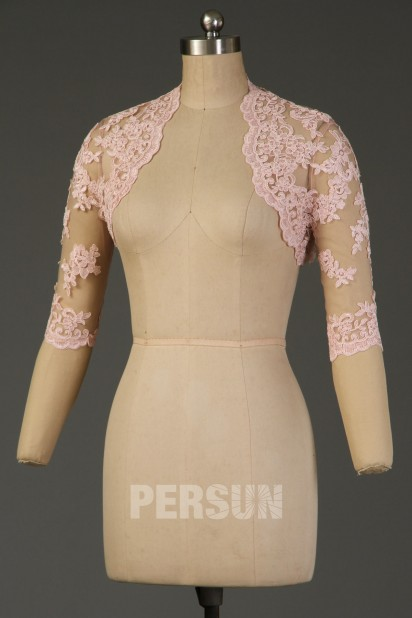Boléro vintage appliqué de dentelle rose poudré pour mariage à manche trois quart