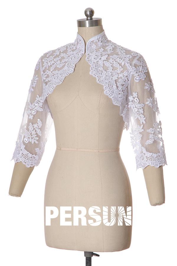bolero-dentelle-guipure-manches-3-4 Principales tendances des robes de mariée pour 2020