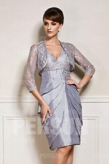 Boléro / veste pour cocktail de mariage en dentelle gris argenté manches trois quart