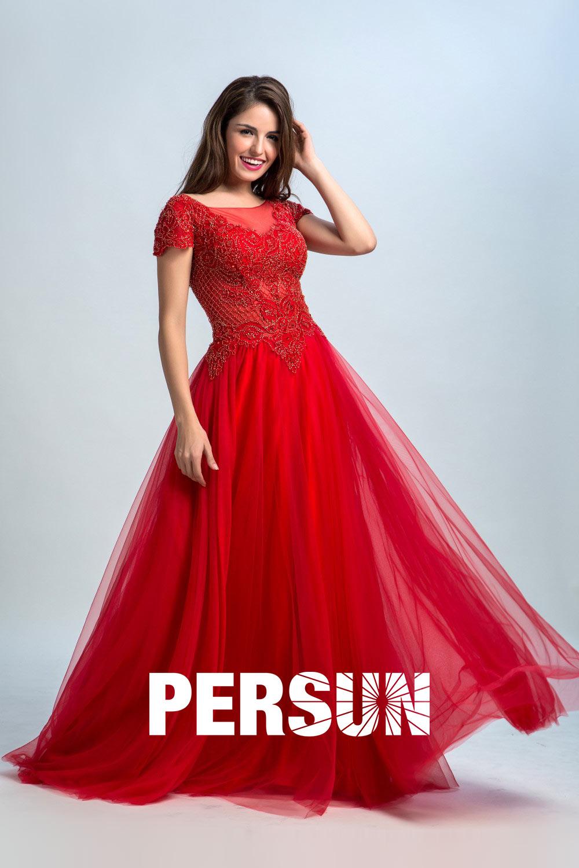 79b8b3f1e9fb Robe soirée vintage rouge haut brodé avec mancherons - Persun.fr