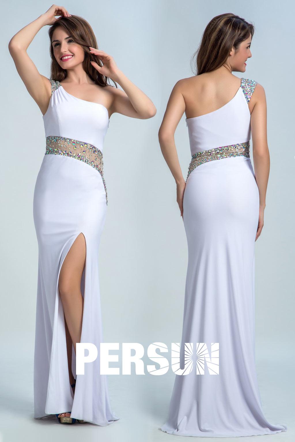 4ad0c3e8910 Robe de bal blanche sirène fendue asymétrique - Persun.fr