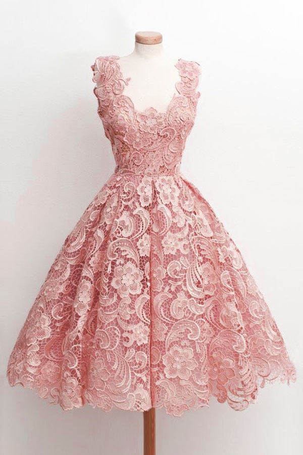 robe cocktail rose princesse vintage en dentelle guipure