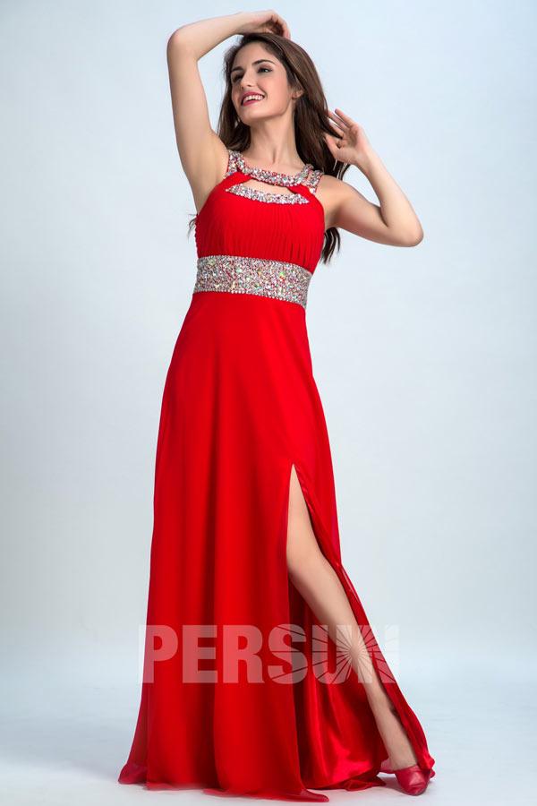 robe de cérémonie rouge longue fendue col & taille ornée de paillettes