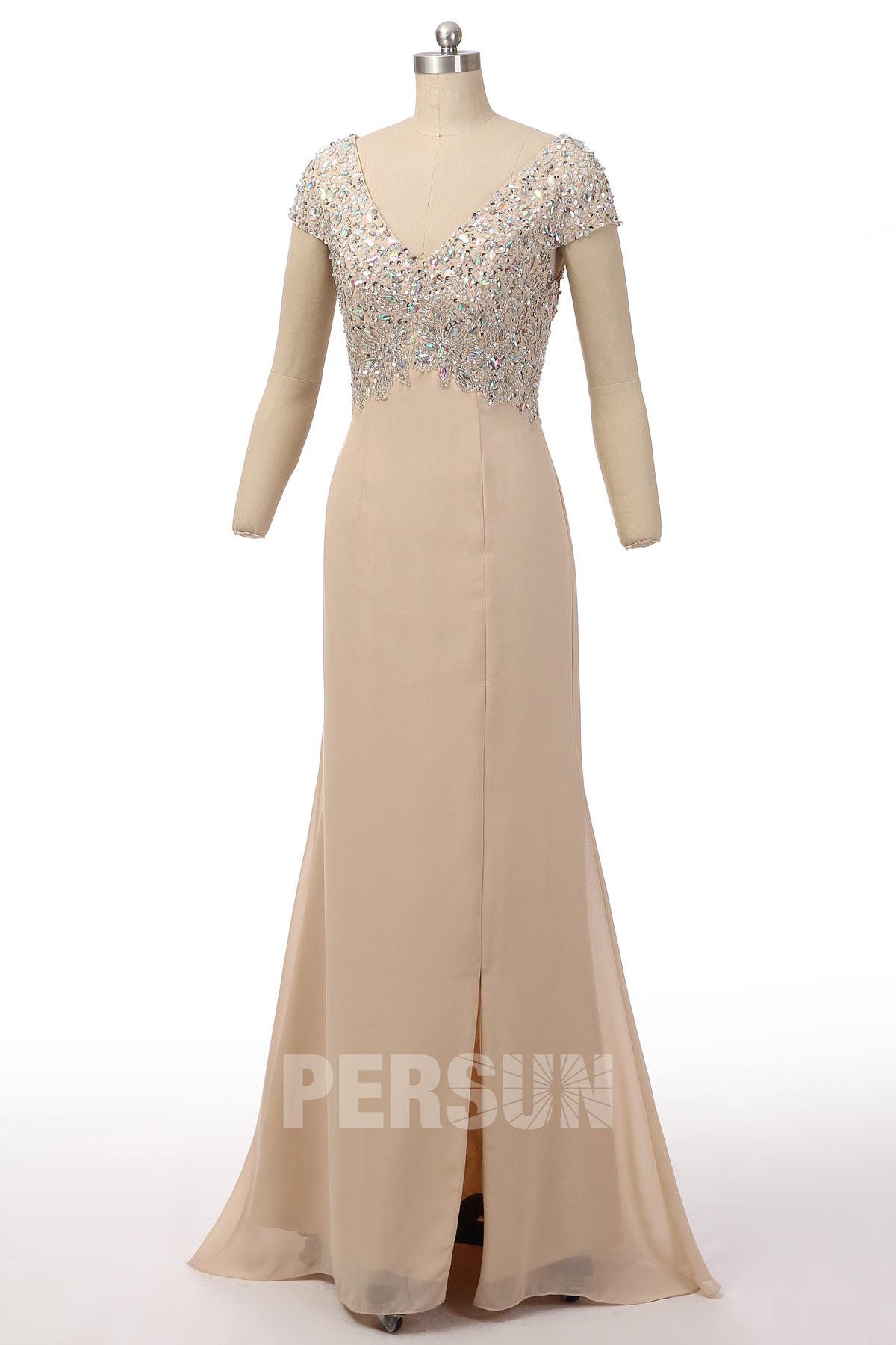 robe de soirée longue fendue champagne col v embelli de strass à manche courte