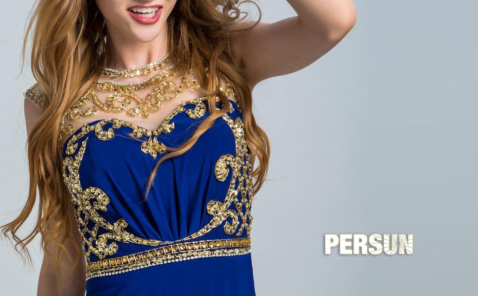 Robe bal pour femme en bleu à bustier avec strass doré étincelant