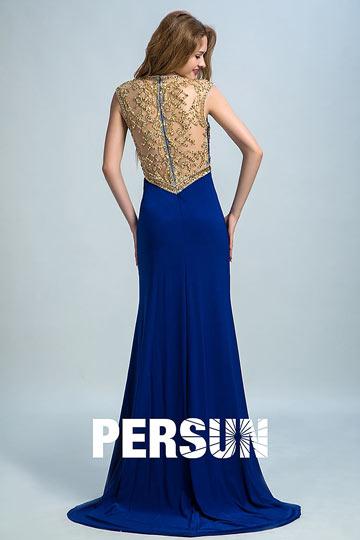 91cd9dff251 Robe de soirée bleu fendue à haut brodé de sequins - Persun.fr