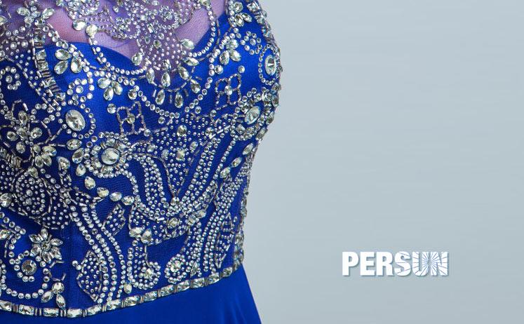 Robe bleu soirée bustier avec strass étincelant