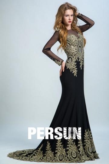 Robe soirée noire manches longues avec dentelle dorée appliquée