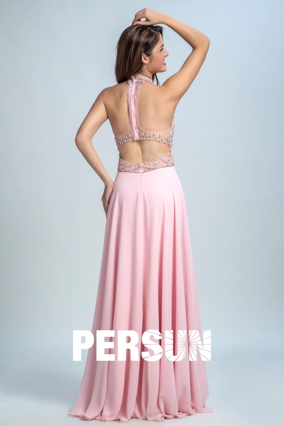 Robe rose longue bustier strassé transparent col halter
