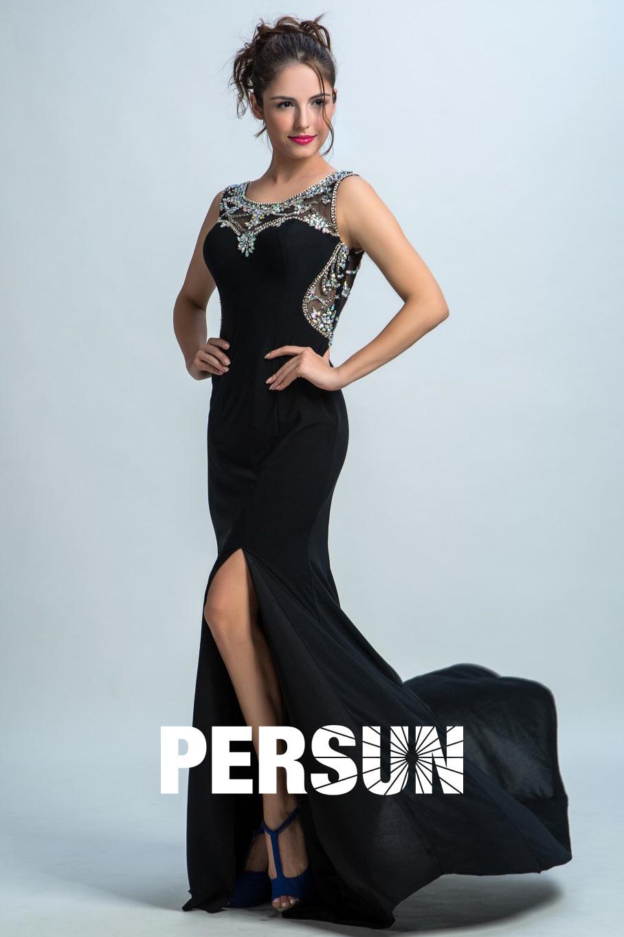 robe demoiselle d'honneur longue noire fendue col brodé de rhinestones