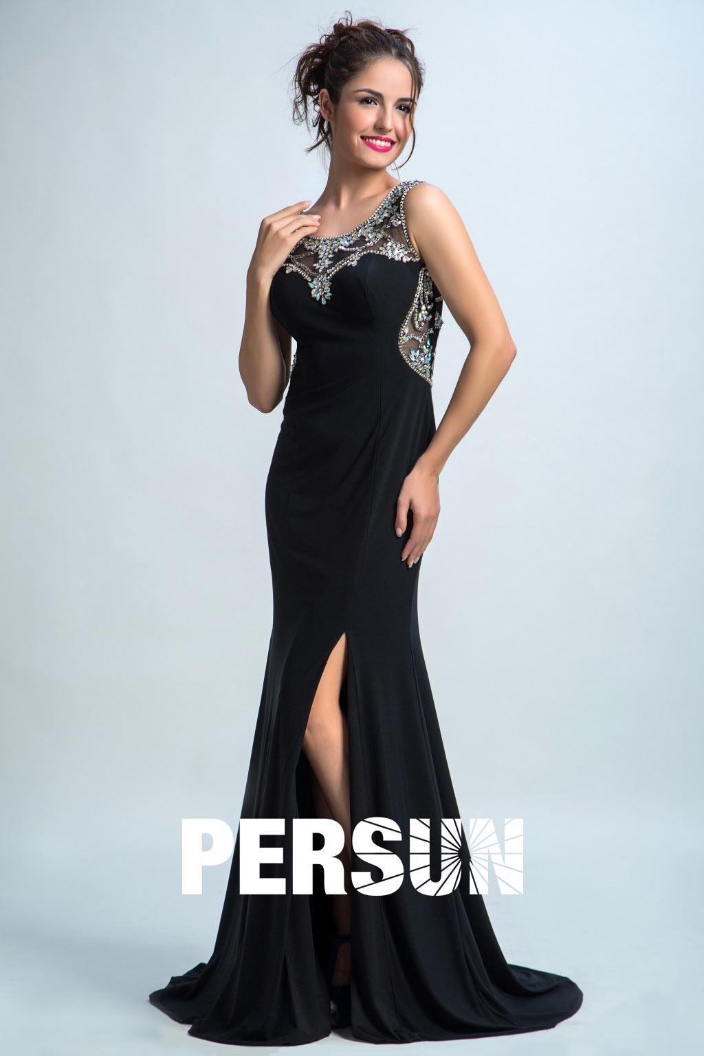 robe soirée noire fendue encolure illusion ornée de strass