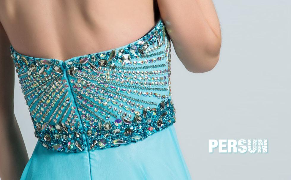 Elégante robe bleu azur longue bustier cœur à bijoux