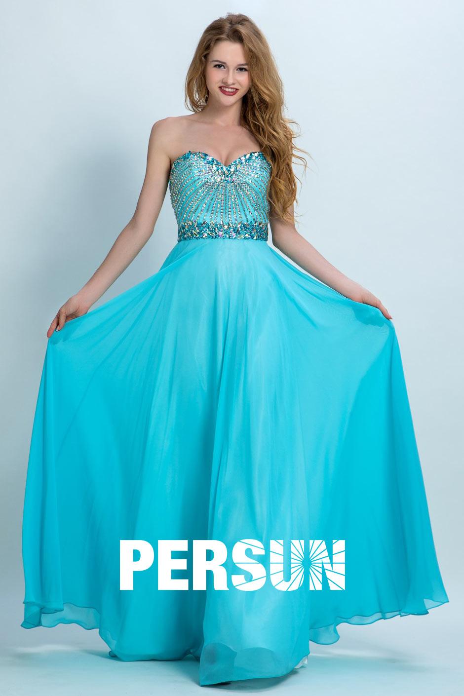 robe de soirée longue bleu cyan bustier coeur orné de strass pour femme ronde