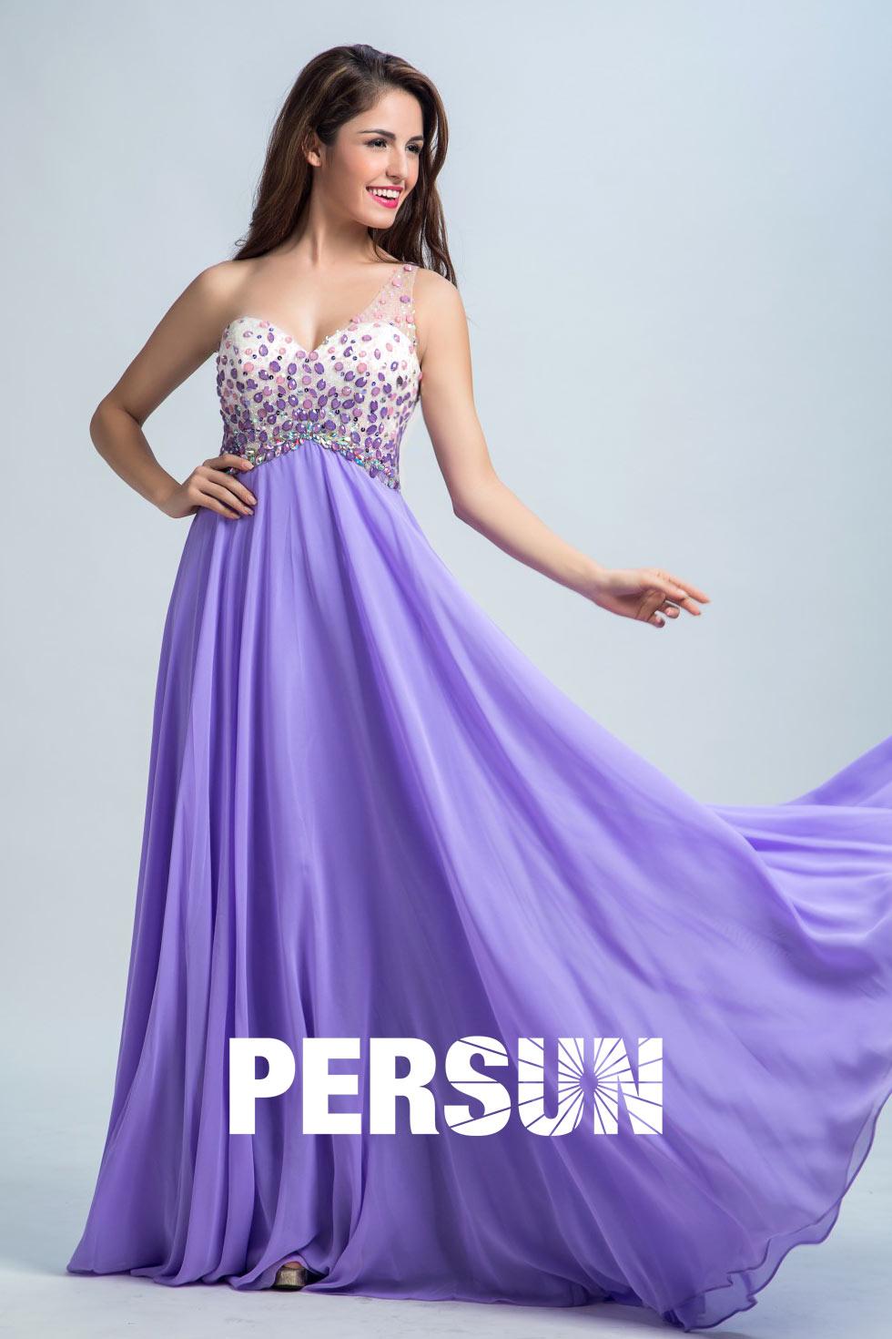 robe de cérémonie longue violette asymétrique dos nu