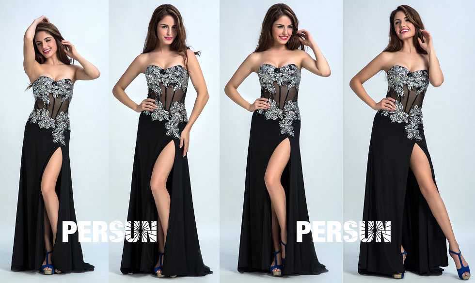 Robe de soirée noire effet corsage sexy à paillette ligne A pour gala