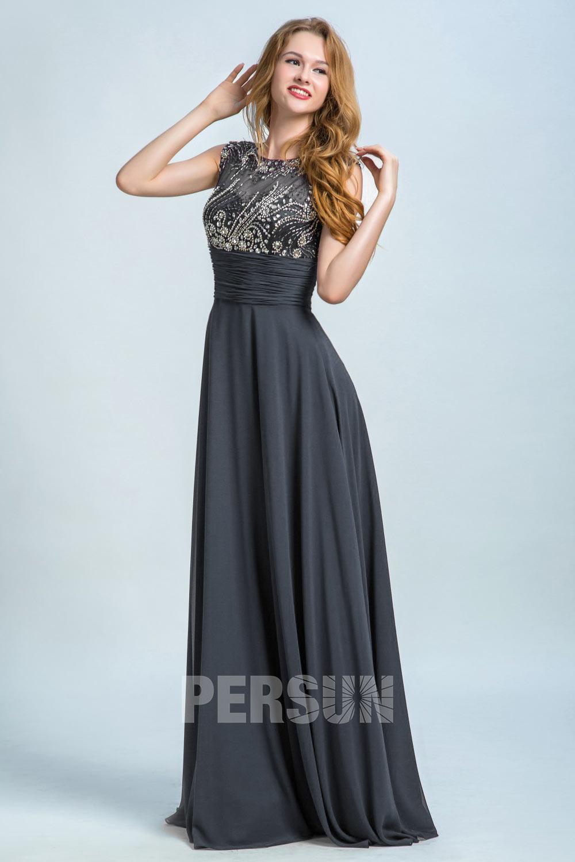 robe de soirée gris longue col illusion embelli de strass taille plissé
