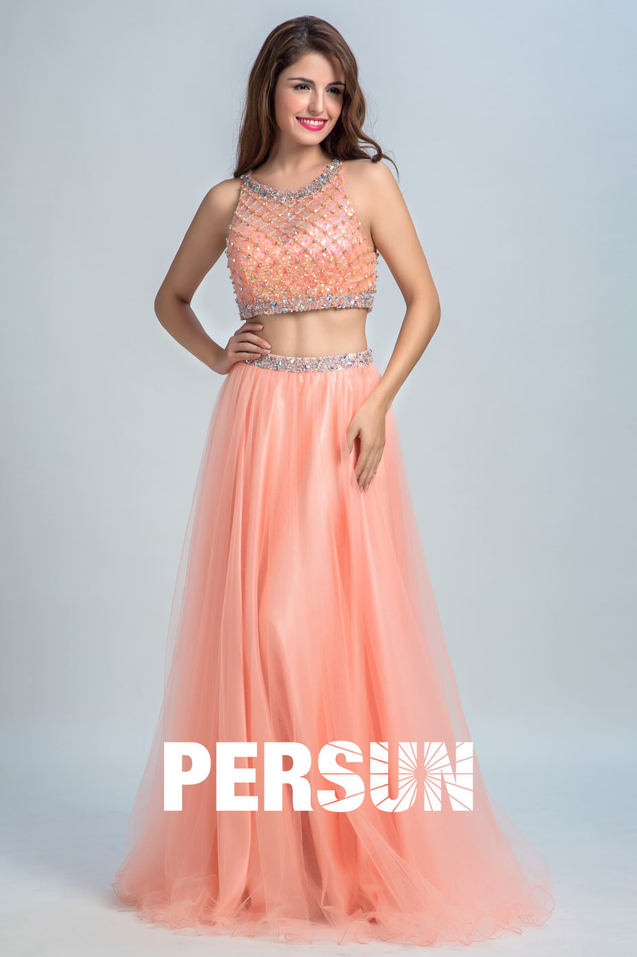 Robe soirée longue crop top orange scintillante - Persun.fr 80b1f4421724